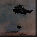 Paintings of the Falklands War - helicopter bringing supplies